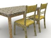 Stolar och ett bord — Stockfoto