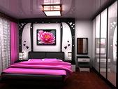 卧室。一个美丽的室内一间的房间. — 图库照片