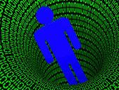 Man and digital code — Stock Photo