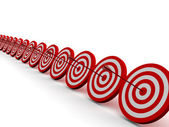 Row Red and White target — Stock Photo