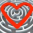 Labyrinth and heart - Stockfoto