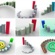 Stock Photo: Collage from 9 three-dimensional schedules. icons