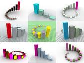 Colagem de 9 programações tridimensionais. ícones — Foto Stock