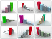 Colagem de 9 programações tridimensionais. — Foto Stock