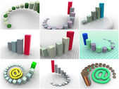 Collage from 9 three-dimensional schedules. icons — Stock Photo