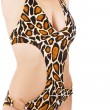 Female body in leopard swimsuit — Stock Photo