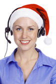 Christmas operator woman — Stock Photo