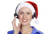 Christmas operator woman, isolated on white background — Stock Photo