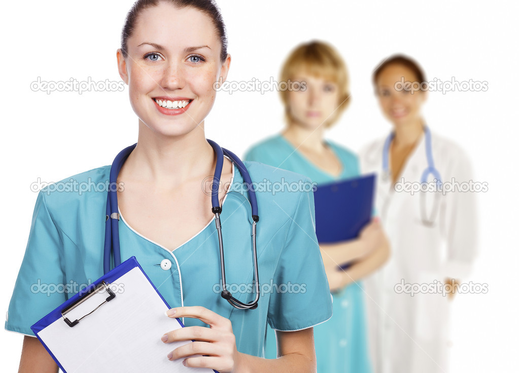 Hospital team. Three friendly healthcare workers on white background — Stock Photo #7672532