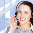 Call center woman with headset. — Stock Photo