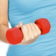 Female hand with a red barbell — Stock Photo #7959703