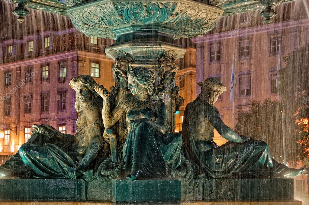 Fountain at Rossio Square in Lisbon, Portugal, night scene  Stock Photo #6847463