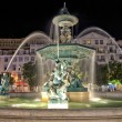 Night view of the fountain at Rossio square, Lisbon, Portugal — Stock Photo