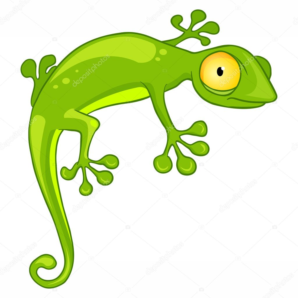 Cartoon Character Lizard Isolated on White Background. Vector. — 图库矢量图片 #7534938