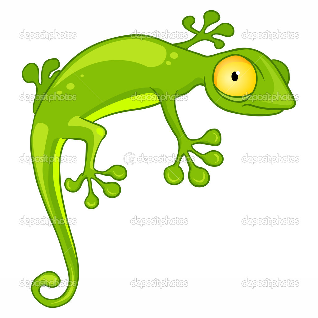 Cartoon Character Lizard Isolated on White Background. Vector. — Vettoriali Stock  #7534938