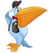 Cartoon Character Pelican — Stock Vector
