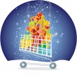 Shopping trolley full of gifts — Wektor stockowy #7599492