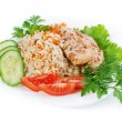 Hen with rice — Stock Photo