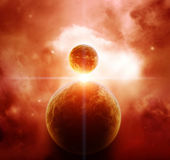 Red Nebula with Planets — Stock Photo