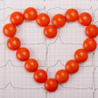 Stock Photo: Heart of pills on ECG