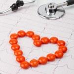 Heart of pills on ECG — Stock Photo #6747452