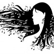 Vector de stock : Woman with music notes
