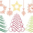 Christmas ornaments, vector set - Stock Vector