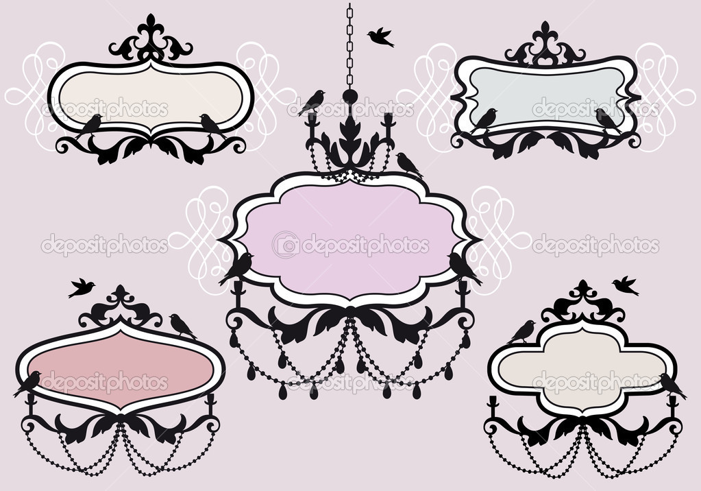 Vintage frames with birds, vector set — Stock Vector #7302859