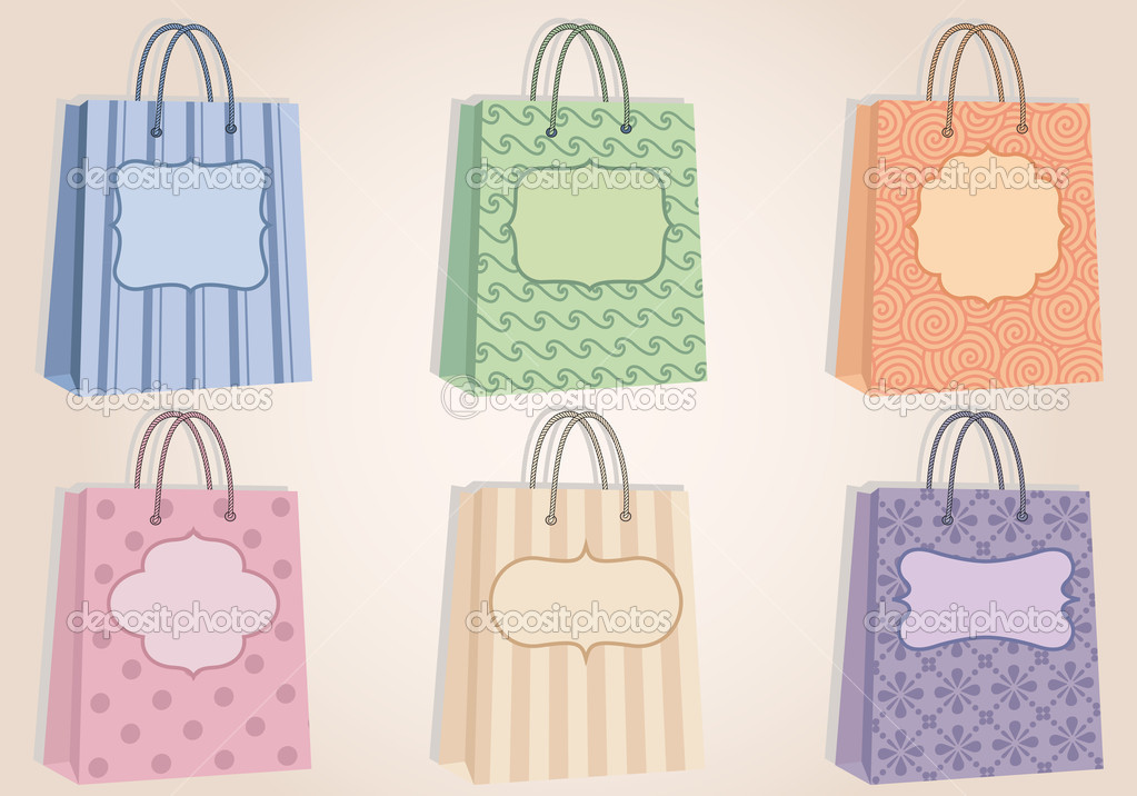 Fashion shopping bags with pattern, and blank labels, vector — ベクター素材ストック #7302893