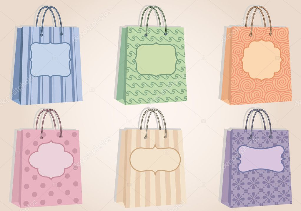 Fashion shopping bags with pattern, and blank labels, vector — Imagen vectorial #7302893