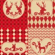 Christmas pattern with deers, vector — ストックベクタ