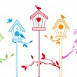 Cute bird houses, vector - Stok Vektr