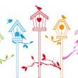 roztomilý ptáček domů, vektor — Stock vektor