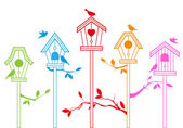 Cute bird houses, vector — Vettoriale Stock