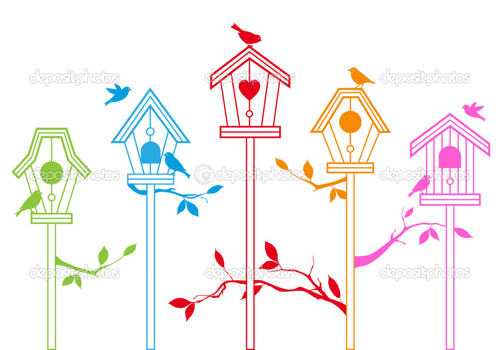 Cute bird houses with branches, vector background — Imagen vectorial #7349225