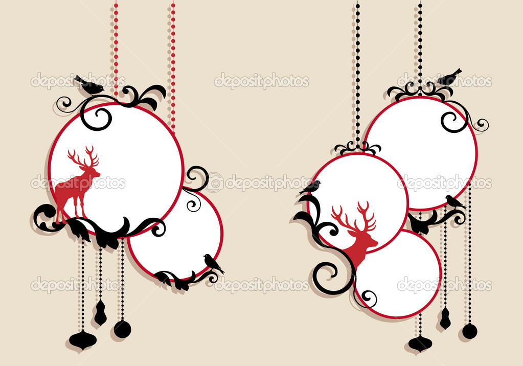 Christmas balls with deer, vector background — Stock Vector #7400606