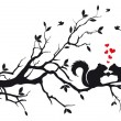 Royalty-Free Stock Imagem Vetorial: Squirrels on tree, vector