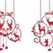 Christmas deer decoration, vector — Vector de stock