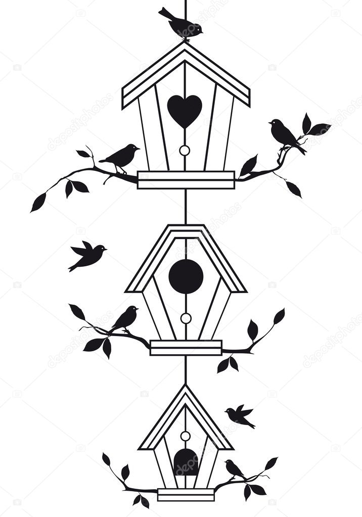 Birdhouses with tree branches and birds, vector background — Vektorgrafik #7686748