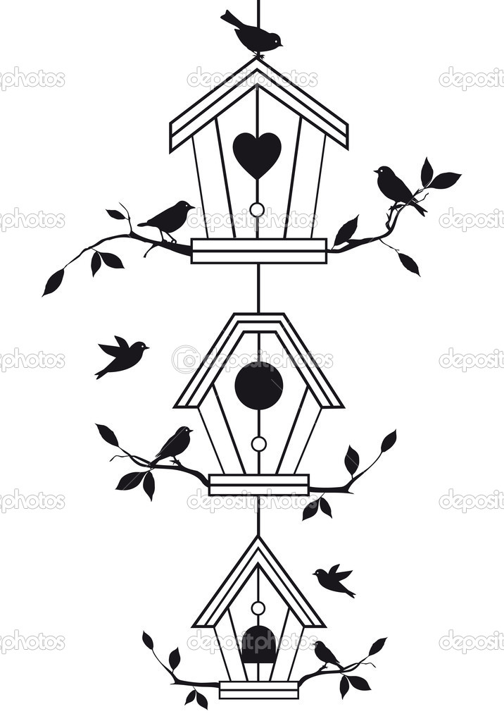 Birdhouses with tree branches and birds, vector background — Imagen vectorial #7686748