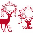 Christmas frame with reindeer, vector — Stock vektor