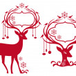 Christmas frame with reindeer, vector — Stockvectorbeeld