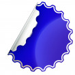 Blue round jagged sticker or label over white — Stock Photo