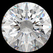 Gemstone: top view of round diamond isolated — Foto Stock