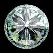 Top view of round diamond with green sparkles — Stock Photo