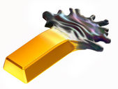 Expensive oil: Gold bar changing into crude — Stock Photo