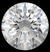 Gemstone: top view of round diamond isolated — Stock Photo
