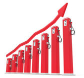Rise in gas price: petrol pumps chart with red graph — Stock Photo