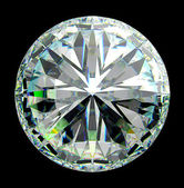 Top view of round diamond with green sparkles — Stock fotografie