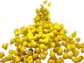 Yellow pears flow with shallow DOF on white — Stock Photo